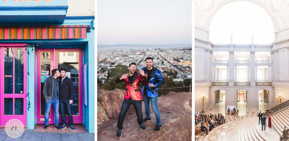 LGBTQ+ wedding couple photography from their San Francisco Castro engagement to city hall wedding