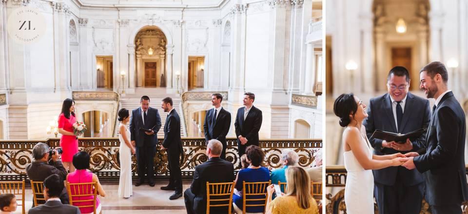large wedding on Mayor's Balcony 2nd Floor San Francisco City Hall
