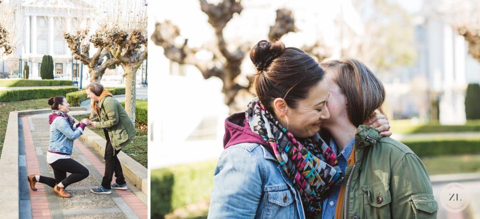 LGBTQ+ couple's san francisco proposal-back