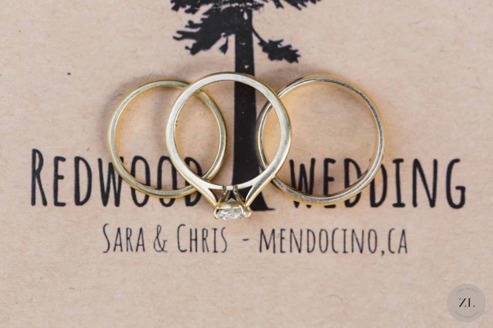 rings on wedding invitation