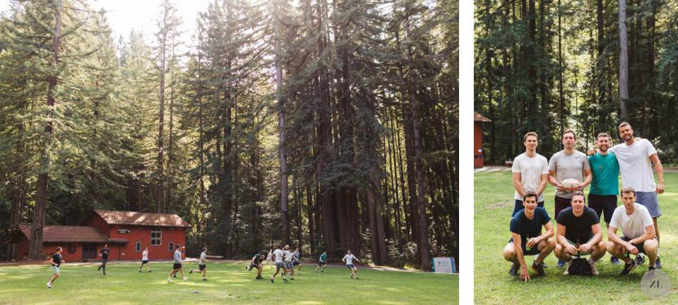 guys playing sports at Camp Mendocino adventure wedding