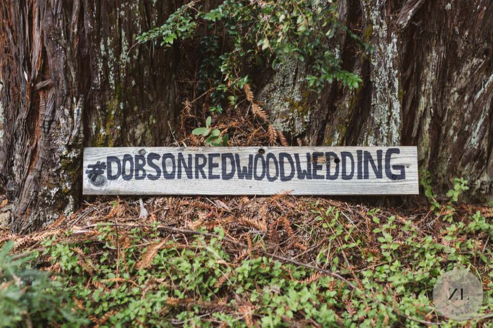 custom wedding sign at mendocino wedding