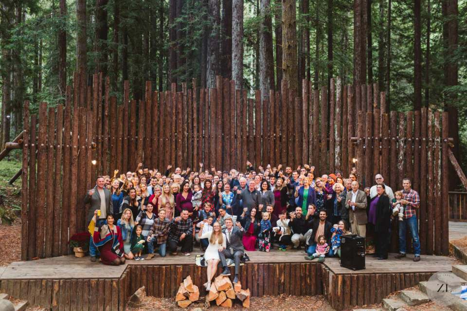 group wedding photo at Camp Mendocino wedding by Zoe Larkin Photography