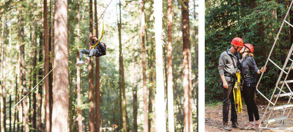 ideas for wedding - zip lining at activity wedding in mendocino, CA