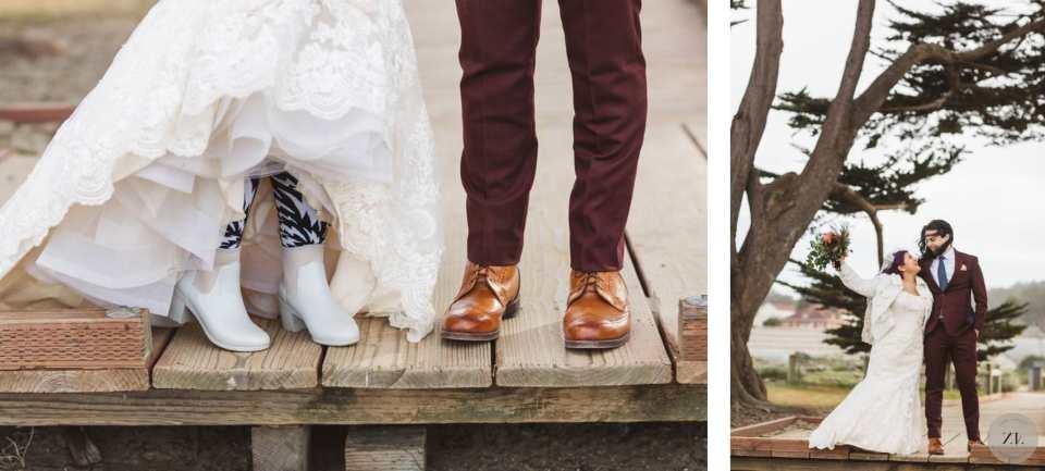 wedding details - hunter wellington boots at San Francisco beach wedding