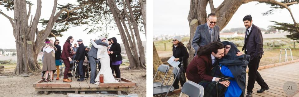 Crissy Field beach wedding ceremony on a windy San Francisco day!