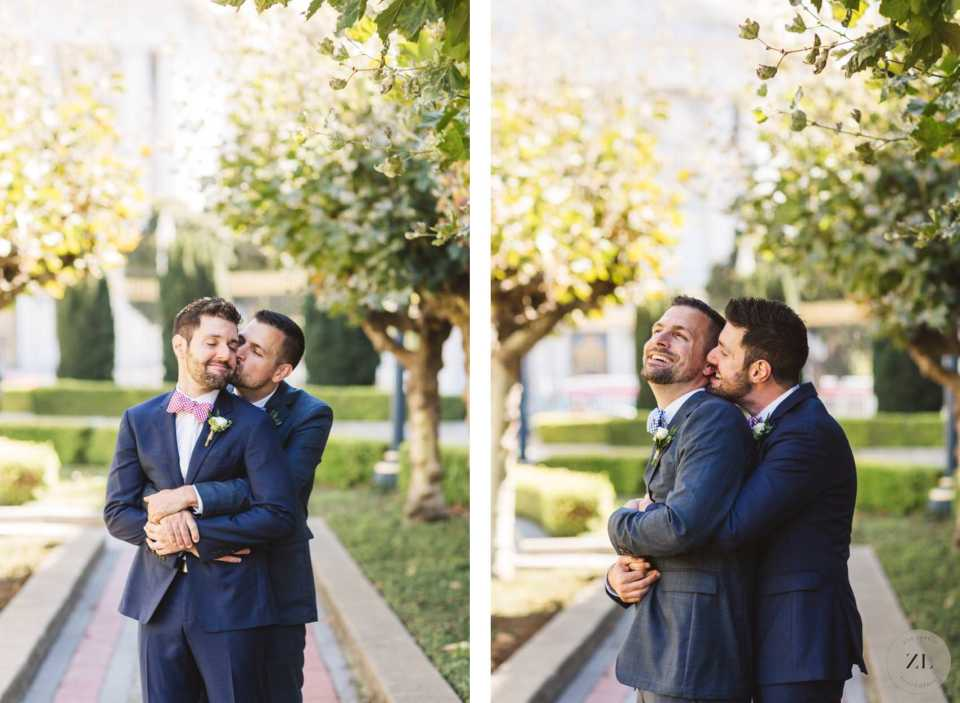 San Francisco City Hall wedding cuddling in memorial court before wedding