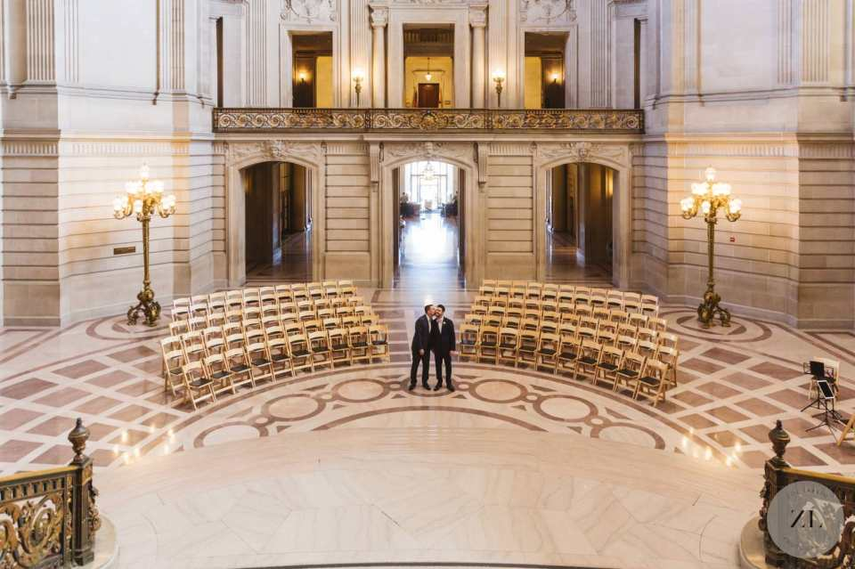 set up at San Francisco City Hall for full buyout wedding