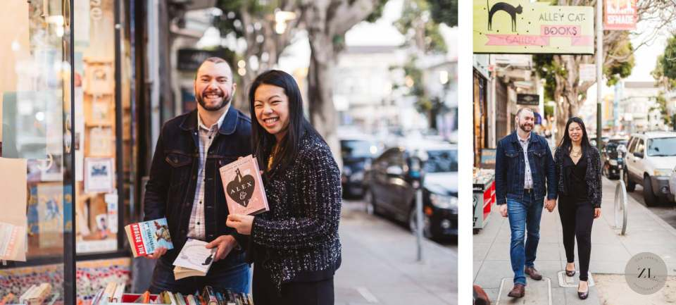 Engagement photography couple at Alley Cat Books on 24th Street in San Francisco's Mission District