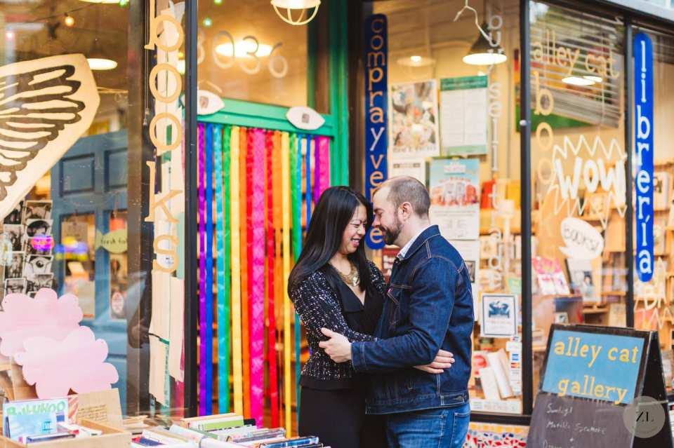 Best engagement photography locations around the Mission District - Alley Cat Books on 24th Street