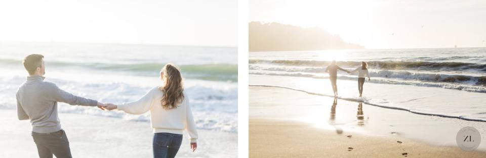couple walking into ocean on San Francisco engagement photography – Baker Beach | Zoe Larkin Photography