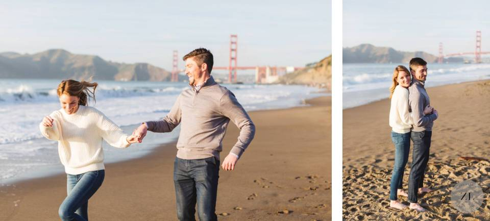 golden gate bridge engagement photo shoot on Baker Beach, San Francisco