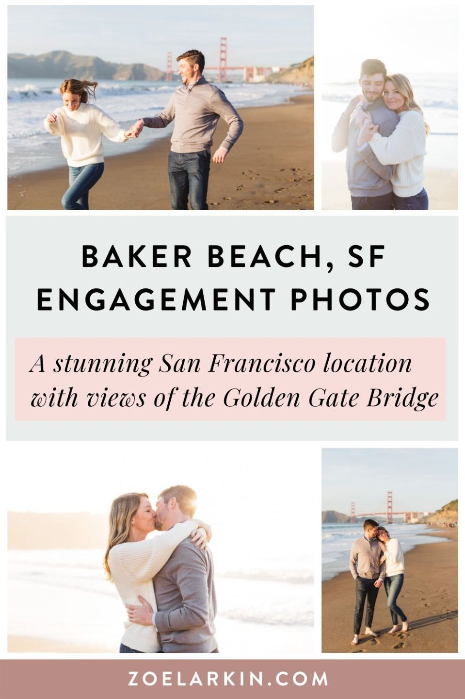 This couple chose Baker Beach for their San Francisco engagement shoot because it's wild, iconic and vast. This couple, Andrea and Mason, spent a beautiful sunset evening at the stunning SF engagement photography location overlooking the Golden Gate Bridge. This favorite photography location has wonderful views, nice weather + a mile-long beach. Looking for a San Francisco engagement photographer for your Baker Beach engagement shoot? #sanfrancisco #engagementphotography | Zoe Larkin Photography