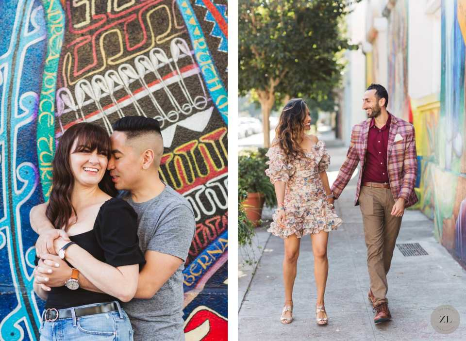 photoshoot with couples outside the Women's Building on 18th Street in San Francisco Mission District
