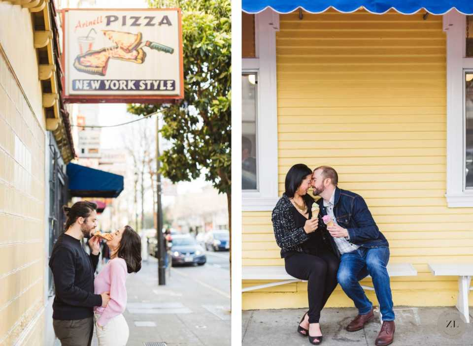Engaged couples eating pizza and ice cream on their Mission District engagement photoshoot