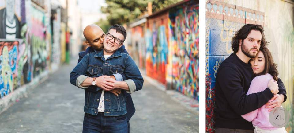 Fun and candid engagement photos with street art and murals in background