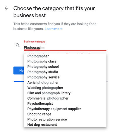 Setting up your GMB listing - choosing the correct category for your business. In this example, the category is Photographer