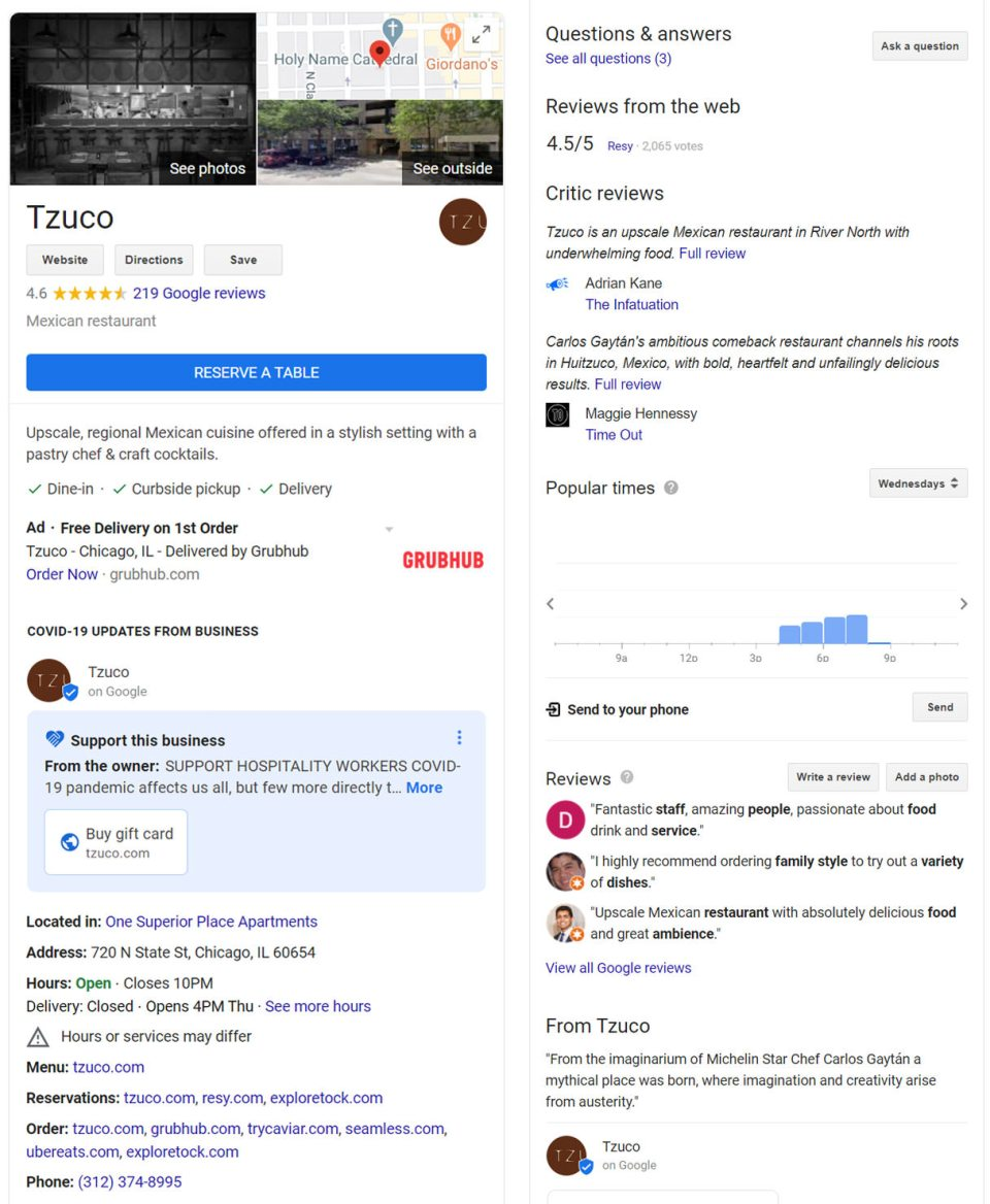 Example of well-optimized Google My Business (GMB) listing for a restaurant in Chicago