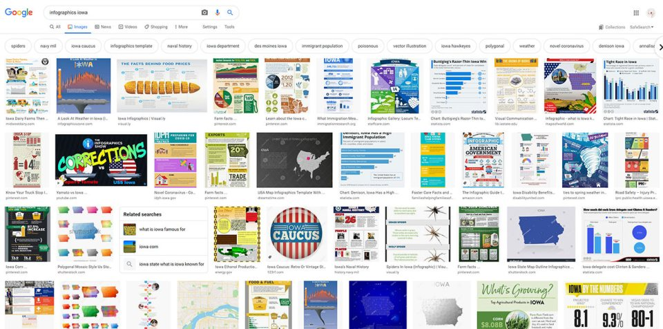 "screenshot example of a Google search for ""infographics"" in a particular state (oregon) as a source of information for blog posts"