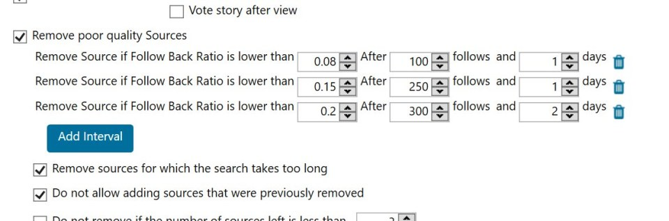 Best settings for Jarvee - screenshot showing how to remove poor quality sources