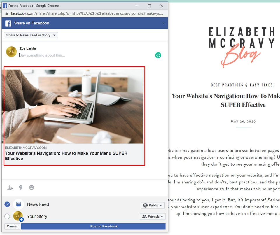 screenshot showing share to Facebook with a well optimized featured image for social sharing example