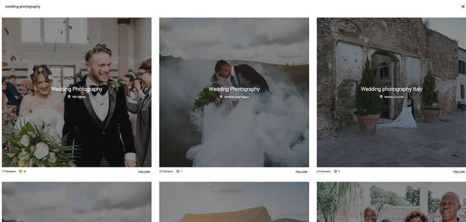 Example of a board on Google Keen - wedding photography boards