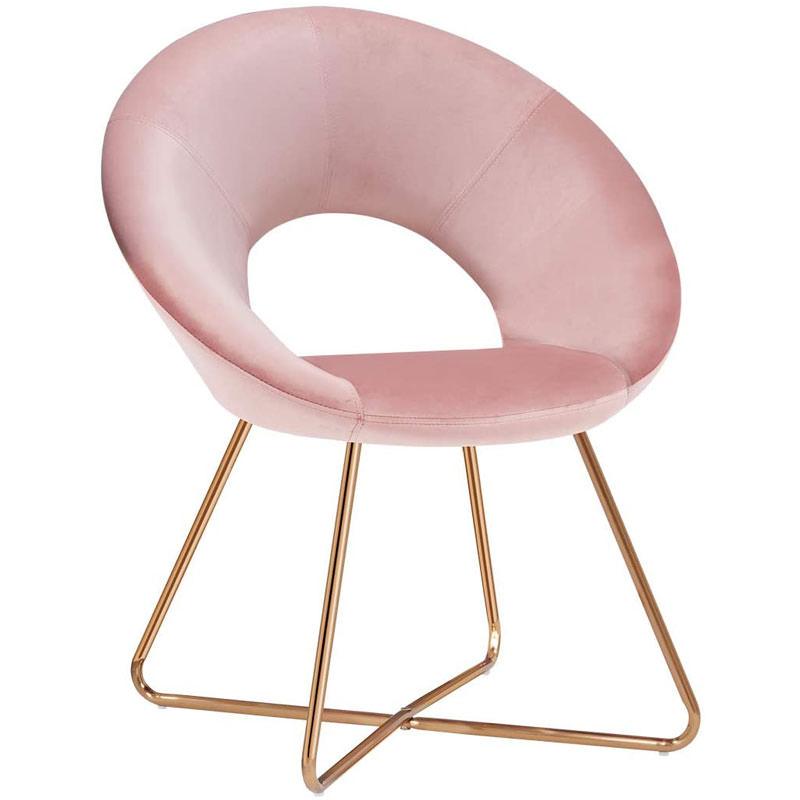Velvet Upholstered Mid-Century Modern Chair