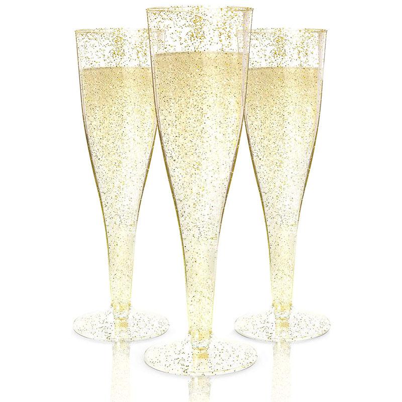 Disposable Gold Glitter Plastic Champagne Glasses
