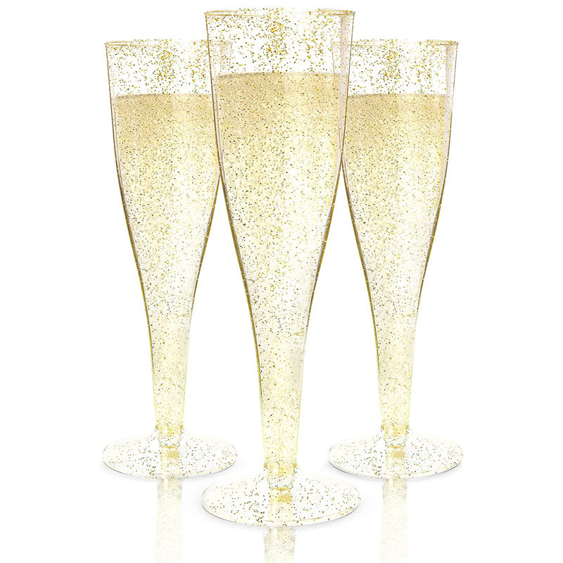 Disposable Gold Glitter Plastic Champagne Glasses