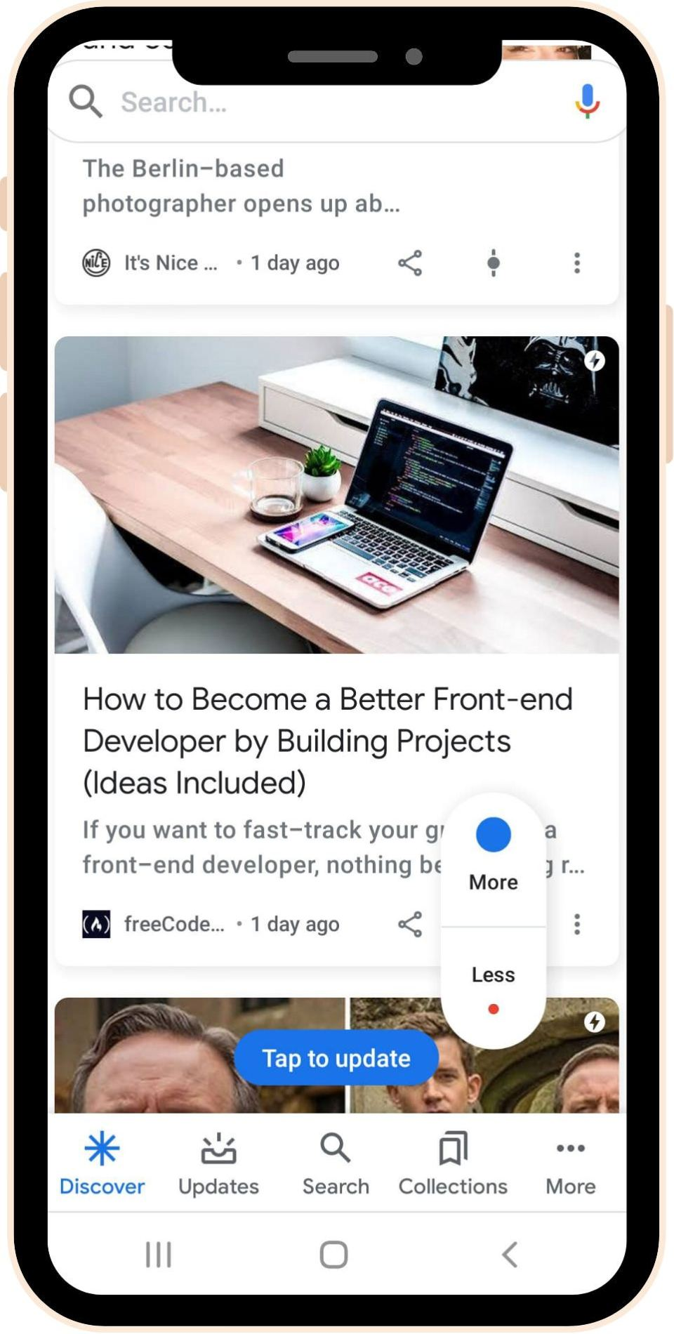Google Discover screenshot showing a user's feed featuring coding, photography and TV topics - use this as a content marketer