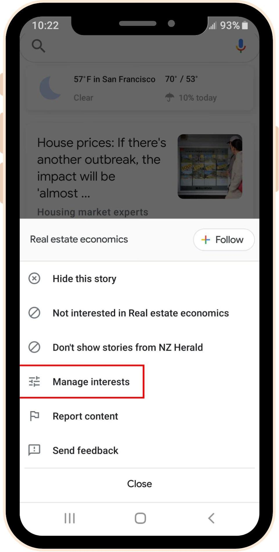 Screenshot of how to tailor your Interests on Google and view and manage your interests