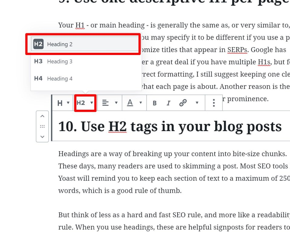 screenshot showing how to use H2 tags for headings in your blog posts as small business owner, on the WordPress CMS (Gutenberg)