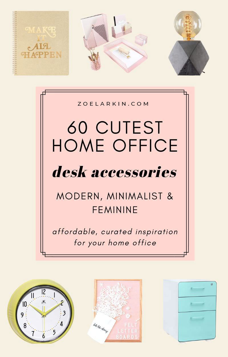 Grab some affordable inspiration for your cute home office/ workspace situation with these 60 accessories - all available from Amazon! You don't need to spend much to create a tasteful and beautiful workspace vibe. Small changes make BIG differences, so check out this curated list for the best in cute, cheerful home office accessories. These carefully curated, beautifully designed items showcase minimalism + modernism, with a few vintage, midcentury modern touches | #officedecor zoelarkin.com