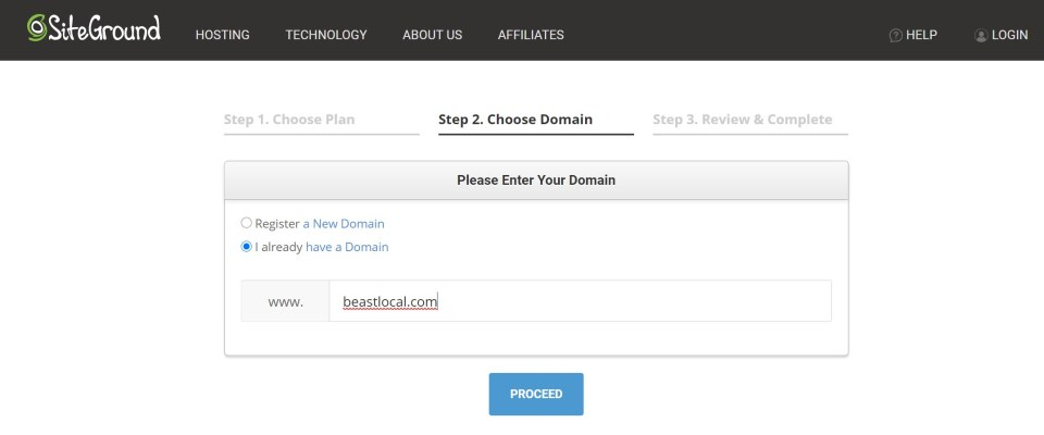 siteground screenshot showing how to choose your domain when you already own one