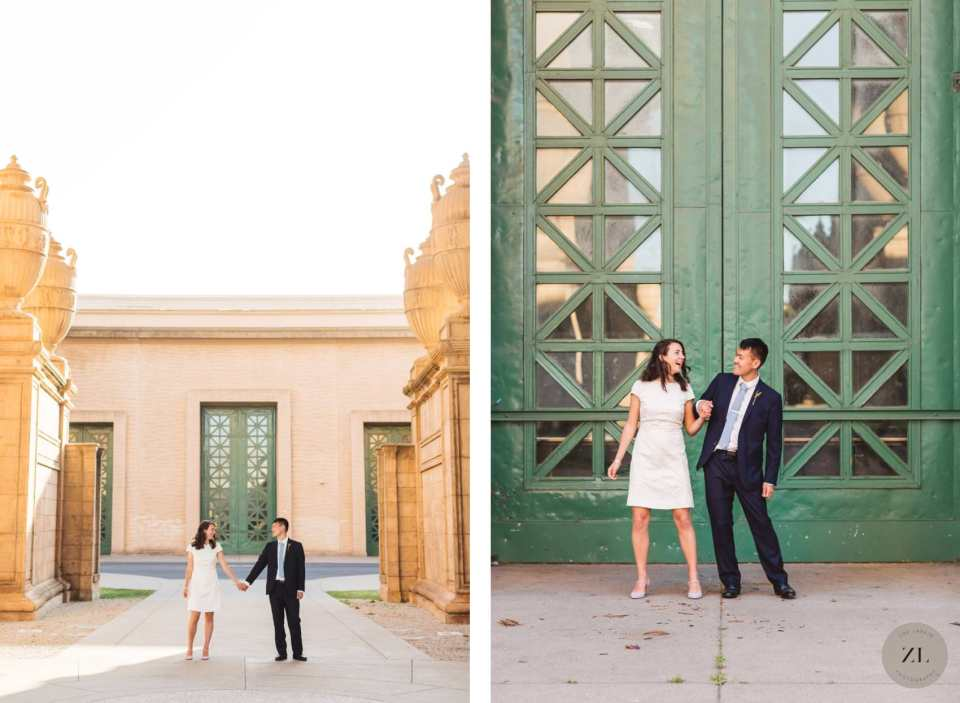 wedding couple standing in front of green doors at palace of fine arts, san francisco