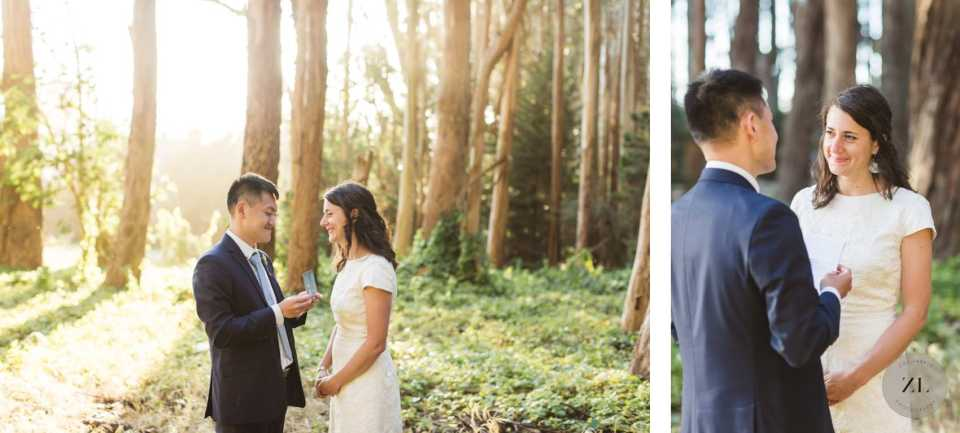 bride and groom exchanging vows at lover's lane san francisco