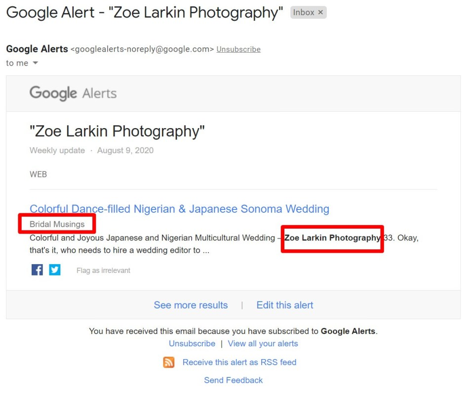 Google Alert email screenshot - set up to notify a brand of mentions on the web