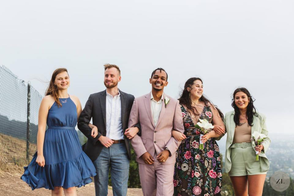 fun joyful wedding photo with group of friends at wedding in berkeley, CA