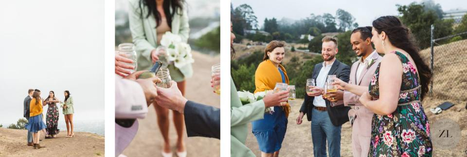 cheersing at a covid wedding in the Berkeley hills, east bay