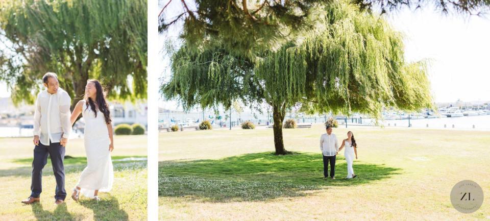 covid wedding couple underneath willow tree Point Richmond, CA