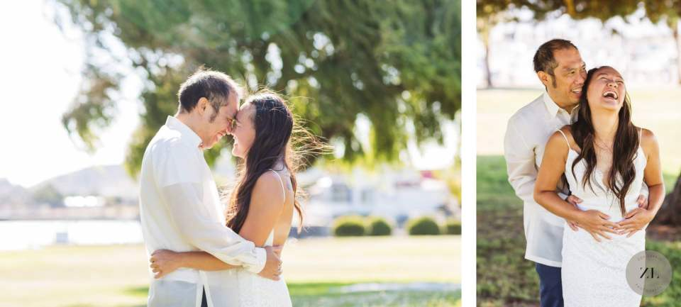 bride and groom snuggling during portrait session near point richmond harbor ca
