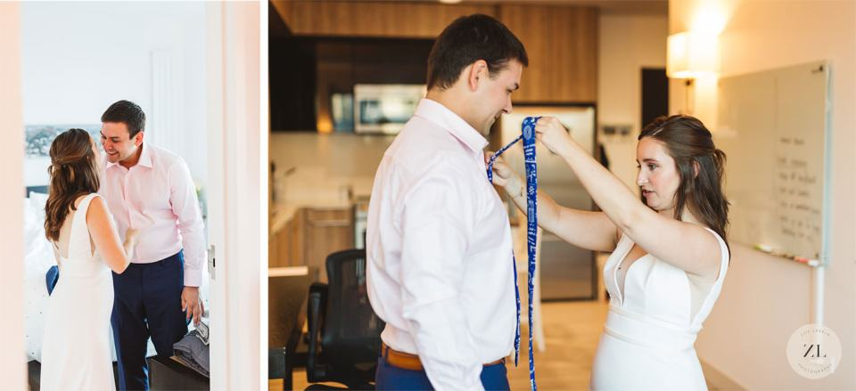 wedding couple getting ready together in their home before elopement wedding