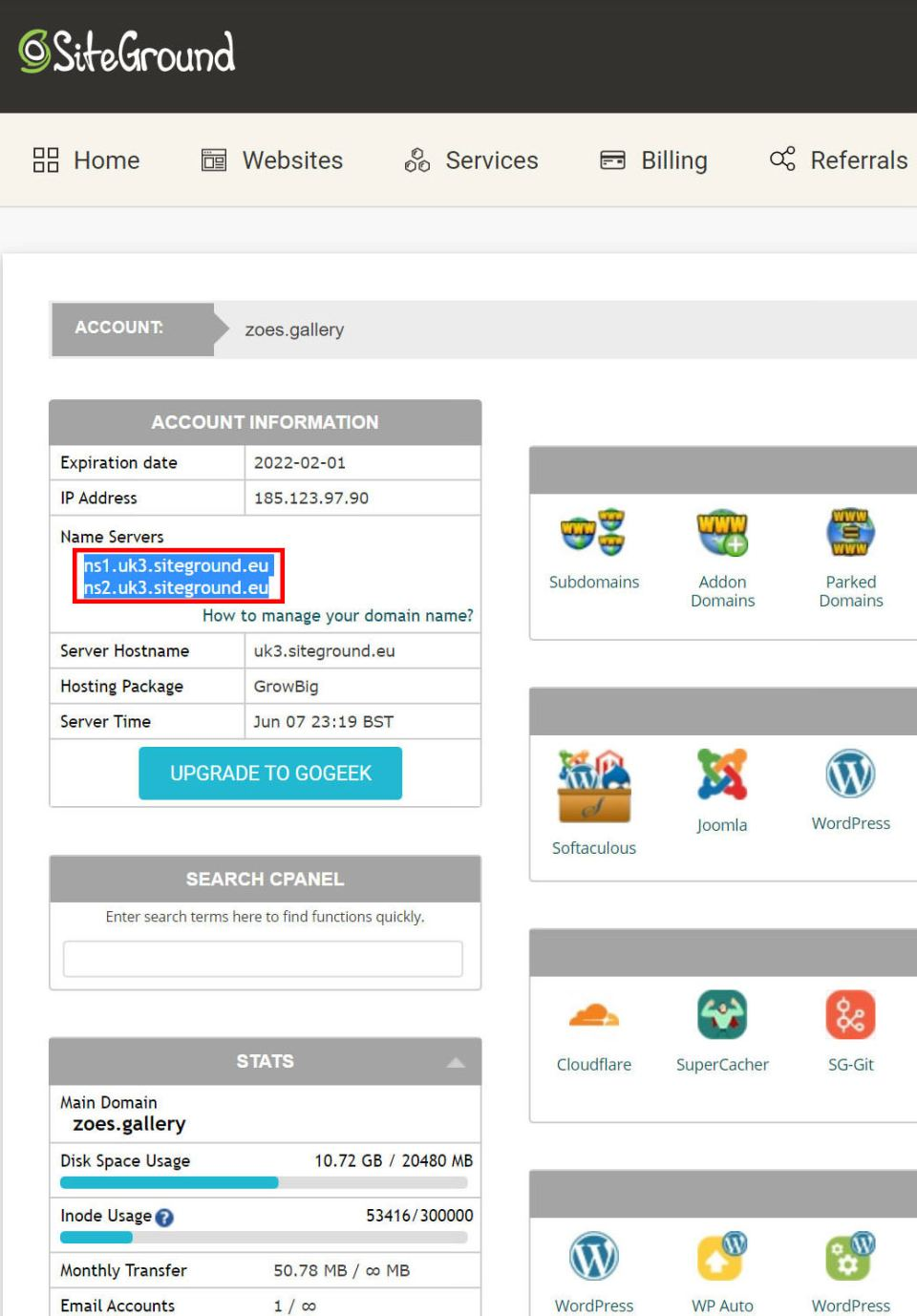 siteground screenshot from cpanel showing where to get the name server information when setting up a different registrar