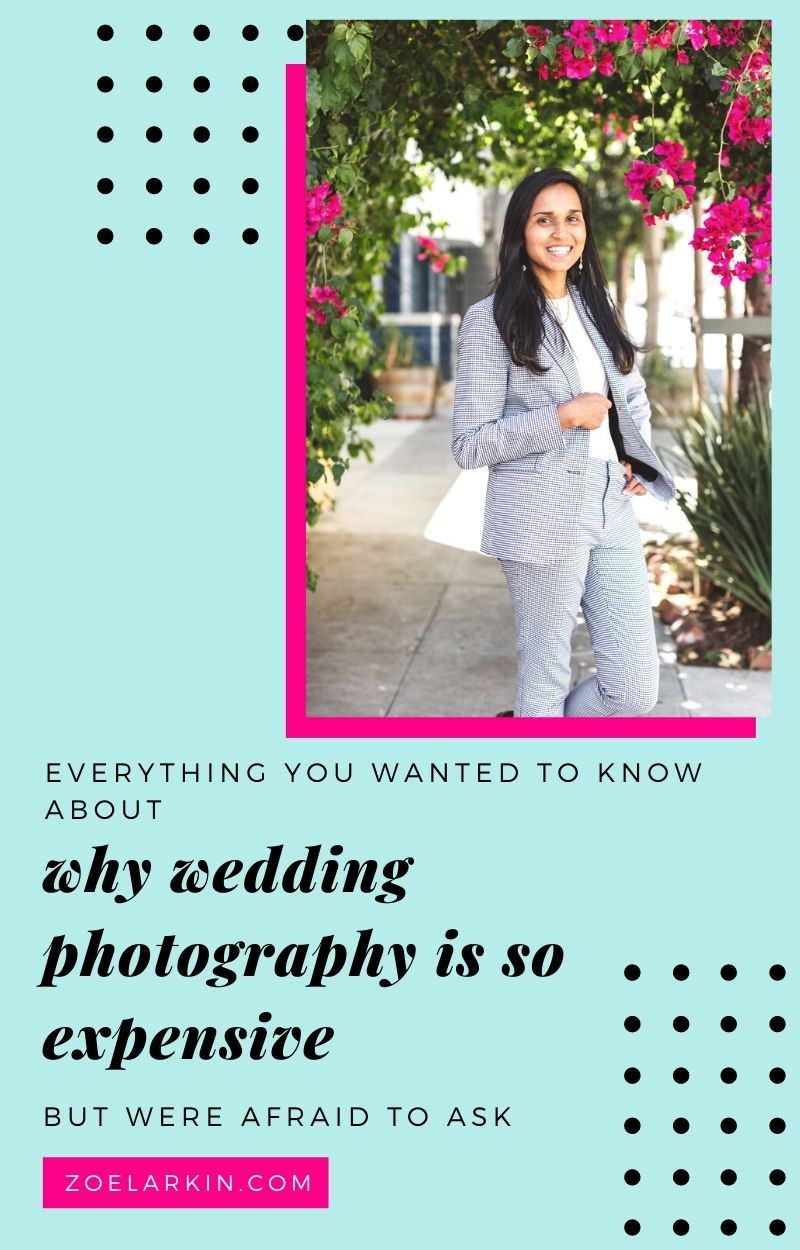 When you hire a professional wedding photographer, you're paying for so much more than a human with two legs + two camera strapped to their body! You're paying a trusted professional to guide you through every aspect of planning + executing the best day of your life. Your choice of photographer determines whether you'll be happy with your photos + your wedding day as a whole. Find out why wedding photographers charge so much to provide that service. | #weddings #weddingphotography zoelarkin.com