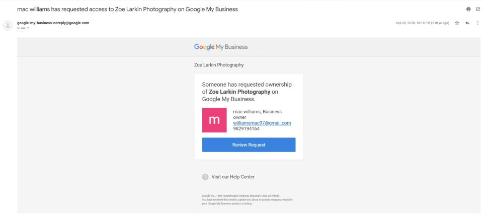 suspicious email from google my business showing someone requesting access fraudulently