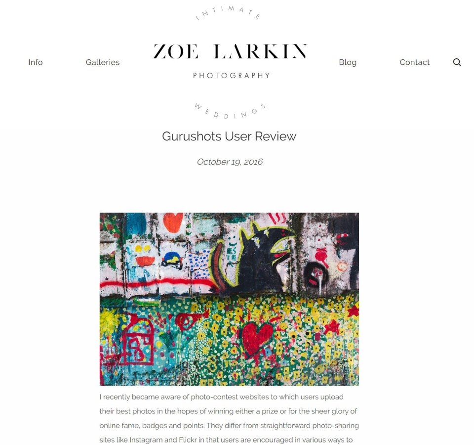 Screenshot of zoe larkin original gurushots review which had been taken down from the internet for a couple of years