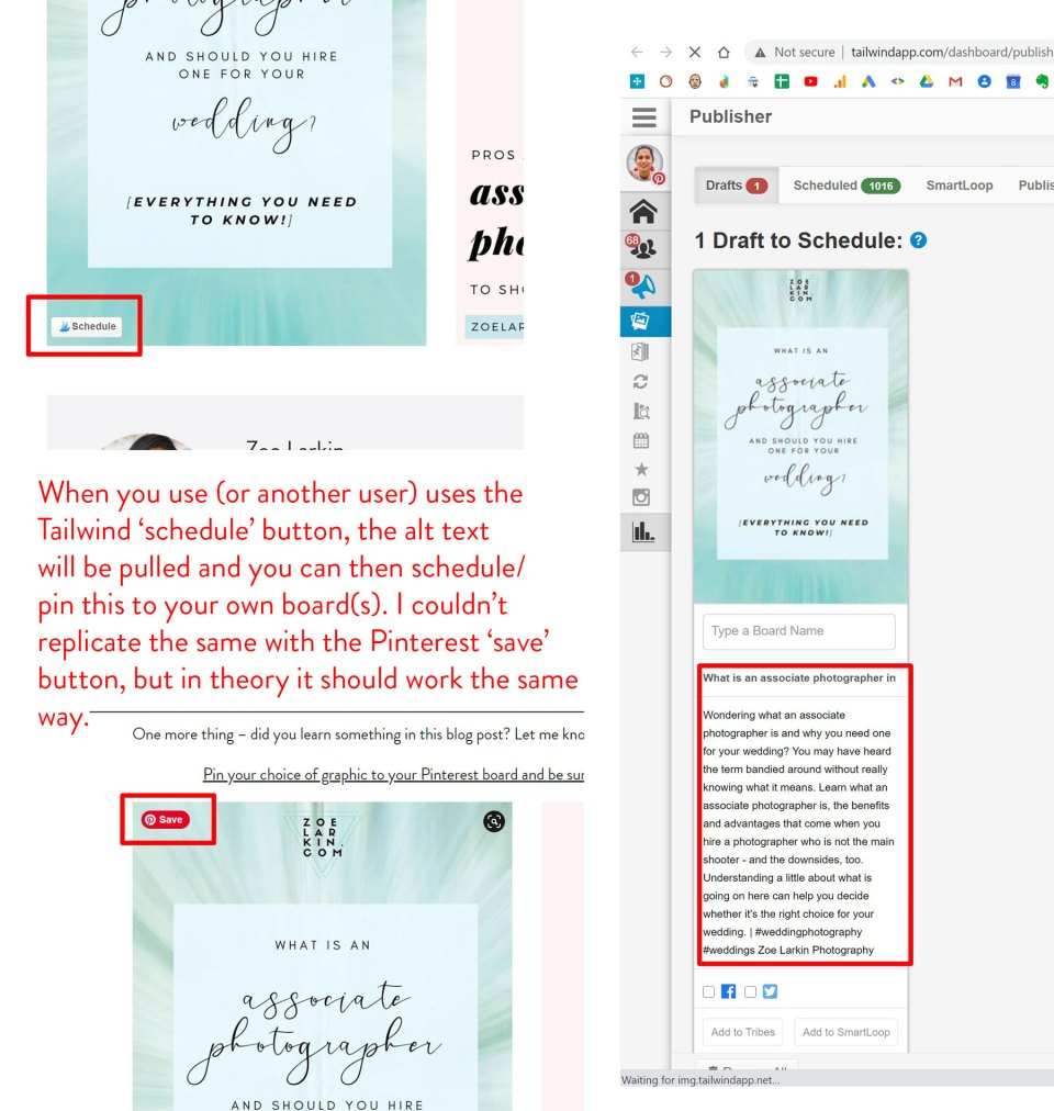 screenshots showing how the Pinterest Pin It button pulls alt text to display on the platform