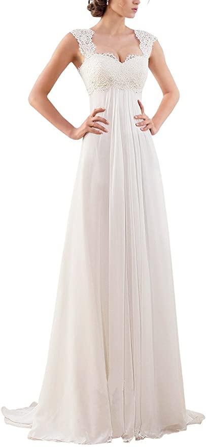 Erosebridal sleeveless lace chiffon bridal gown - long wedding dress