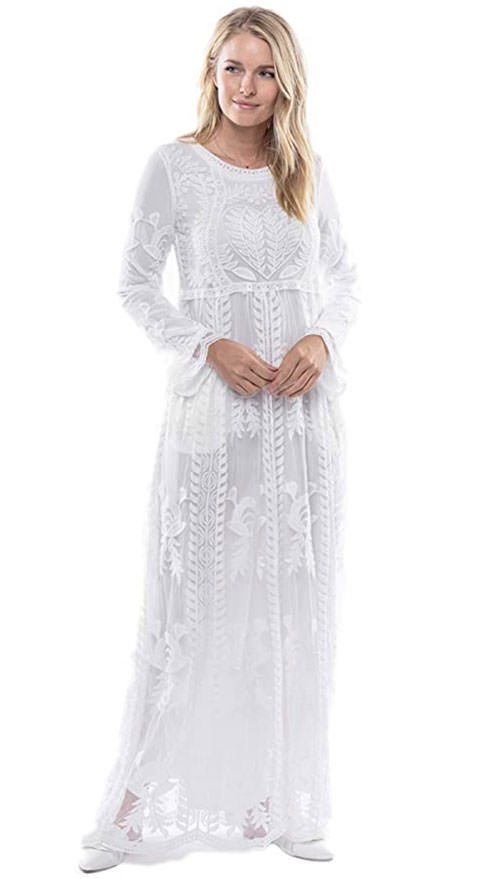 affordable amazon wedding dress - boho Modwhite dress for temple