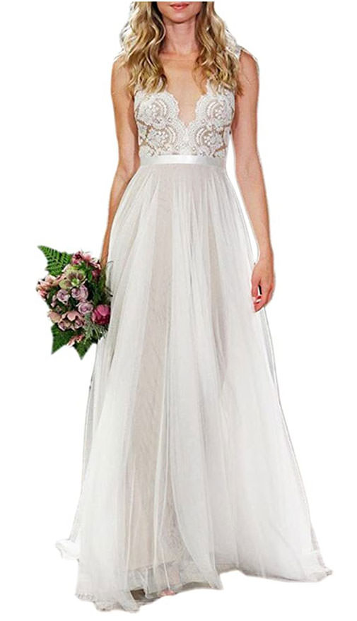 Bohemian casual wedding dresses from amazon - Ikerenwedding V-neck scalloped A line dress